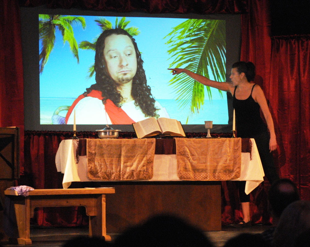 Thea confronts Jesus in her one-woman comedy, Jesus Loves You! (but hates me).